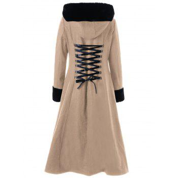 Lace Up Longline Hooded Coat - 2XL 2XL