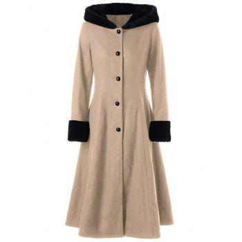 Lace Up Longline Hooded Coat - LIGHT KHAKI 2XL