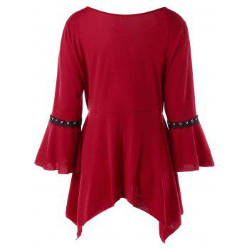 Plus Size Flare Sleeve Lace Up Top - WINE RED WINE RED