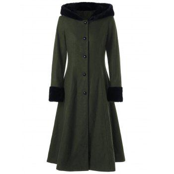 Lace Up Longline Hooded Coat - OLIVE GREEN OLIVE GREEN
