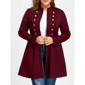 Plus Size Double Breasted Flare Coat - WINE RED 3XL