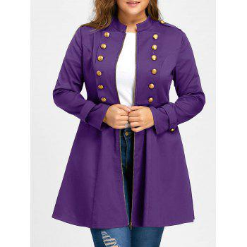 Plus Size Double Breasted Flare Coat - PURPLE 5XL