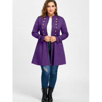 Plus Size Double Breasted Flare Coat - PURPLE PURPLE