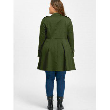 Plus Size Double Breasted Flare Coat - ARMY GREEN ARMY GREEN