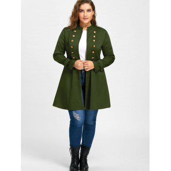 Plus Size Double Breasted Flare Coat - ARMY GREEN 3XL