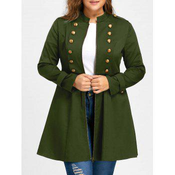 Plus Size Double Breasted Flare Coat - ARMY GREEN 4XL
