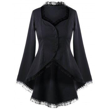 Lace Trim Sweetheart Neck Dip Hem Coat - BLACK BLACK