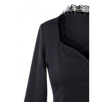 Lace Trim Sweetheart Neck Dip Hem Coat - BLACK XL
