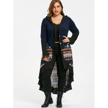 Plus Size Tribal Print Hooded Dip Hem Coat - PURPLISH BLUE XL