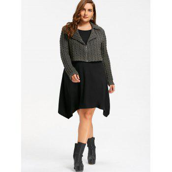 Plus Size Zip Front Cable Knit Longline Top - BLACK/GREY BLACK/GREY