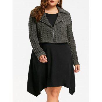 Plus Size Zip Front Cable Knit Longline Top - BLACK AND GREY BLACK/GREY