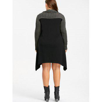 Plus Size Zip Front Cable Knit Longline Top - BLACK/GREY 5XL