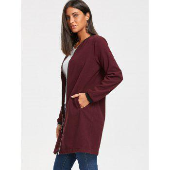 Long Zip Up Coat - Rouge vineux L