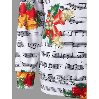 Christmas Music Score and Bell Print Sweatshirt - M M