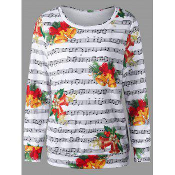 Christmas Music Score and Bell Print Sweatshirt - COLORMIX M
