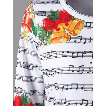 Christmas Music Score and Bell Print Sweatshirt - COLORMIX COLORMIX