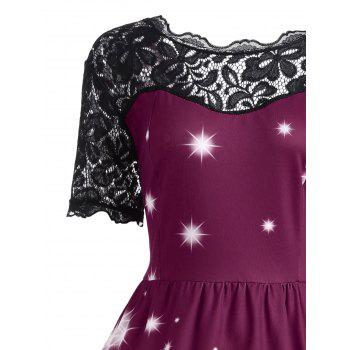 Plus Size Lace Panel Father Christmas Midi Party Dress - PURPLISH RED 4XL