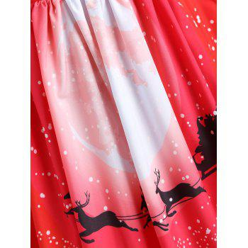 Plus Size Christmas Santa Claus Lace Sleeve Gown Dress - RED XL