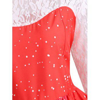 Plus Size Christmas Santa Claus Lace Sleeve Gown Dress - RED 2XL