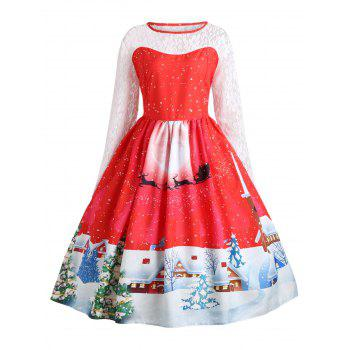 Plus Size Christmas Santa Claus Lace Sleeve Gown Dress - RED RED