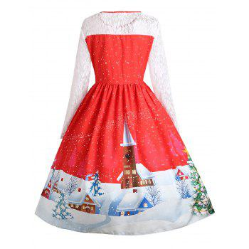 Plus Size Christmas Santa Claus Lace Sleeve Gown Dress - RED 5XL