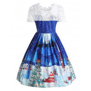 Lace Panel Christmas Print 50s Swing Dress - BLUE BLUE