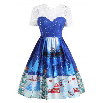 Lace Panel Christmas Print 50s Swing Dress - BLUE XL