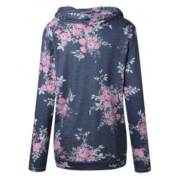 Floral Cowl Neck Hoodie - GRAY S