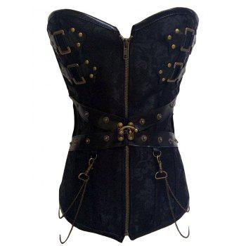 Punk Rock Zipper Lace Up Corset Top - BLACK M