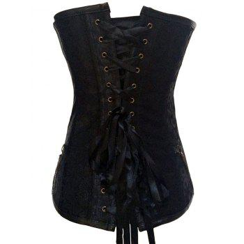 Punk Rock Zipper Lace Up Corset Top - BLACK BLACK