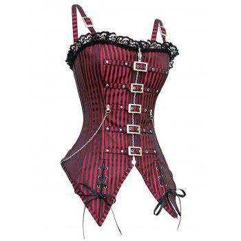 Punk Rock Lace Up Zipper Corset Outfits - RED RED