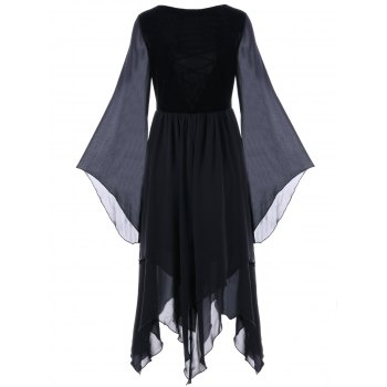 Lace-up Flare Sleeve Chiffon Asymmetric Dress - BLACK XL