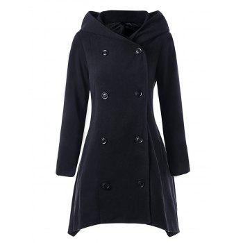 Hooded Double Breasted Asymmetric Coat - BLACK M