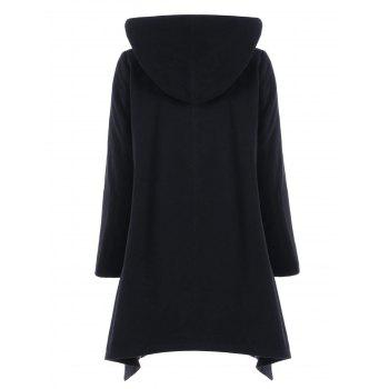 Hooded Double Breasted Asymmetric Coat - BLACK L