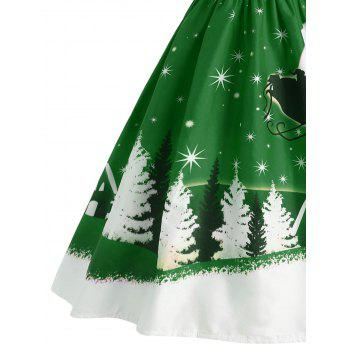 Santa Claus Deer Christmas Vintage Dress - GREEN XL