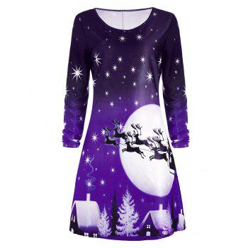 Christmas Deer Long Sleeve Dress - PURPLE XL