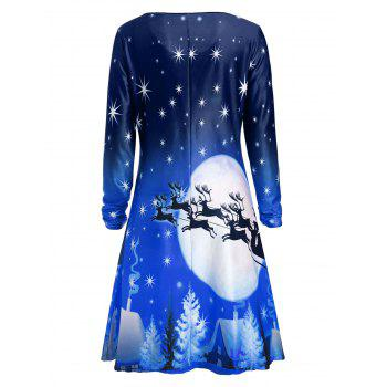 Christmas Deer Long Sleeve Dress - BLUE 2XL