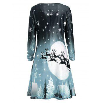 Christmas Deer Long Sleeve Dress - SAGE GREEN SAGE GREEN