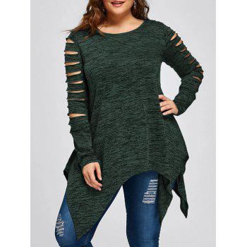 Plus Size Marled Ripped Sleeve Handkerchief Top - DEEP GREEN DEEP GREEN