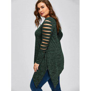 Plus Size Marled Ripped Sleeve Handkerchief Top - DEEP GREEN 3XL