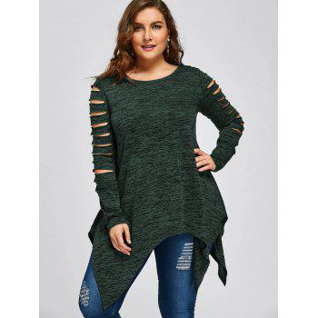 Plus Size Marled Ripped Sleeve Handkerchief Top - DEEP GREEN XL