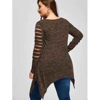 Plus Size Marled Ripped Sleeve Handkerchief Top - COFFEE COFFEE