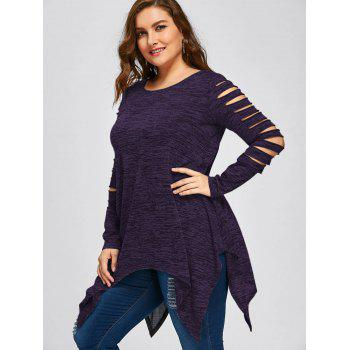 Plus Size Marled Ripped Sleeve Handkerchief Top - PURPLE 4XL
