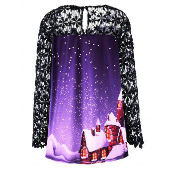 Christmas Plus Size Lace Yoke Tunic Top - PURPLE PURPLE