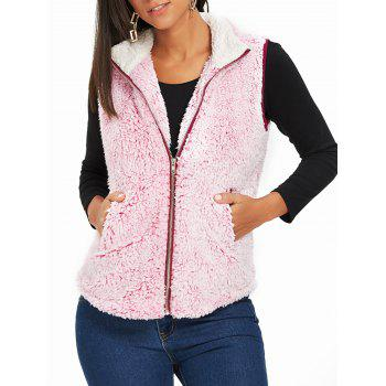 Stand Collar Zip Fly Shearling Waistcoat - PINK PINK