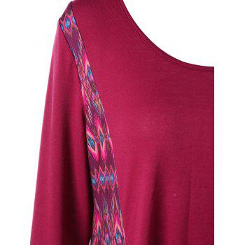 Asymmetric Long Sleeve Plus Size Print Dress - WINE RED 2XL
