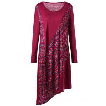 Asymmetric Long Sleeve Plus Size Print Dress - WINE RED 4XL