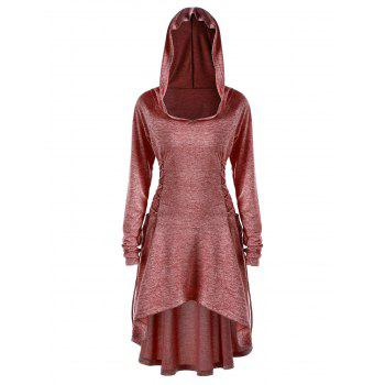 Plus Size Lace Up Dip Hem Hoodie - BRICK RED XL