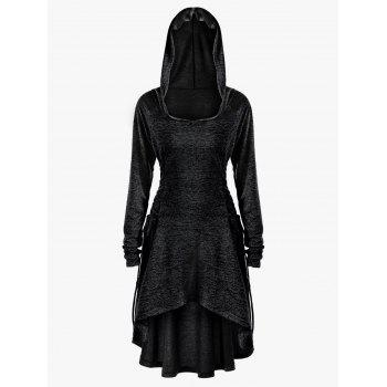 Plus Size Lace Up Dip Hem Hoodie - BLACK BLACK