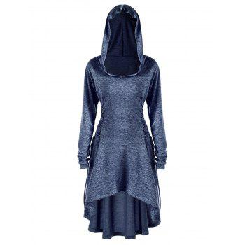 Plus Size Lace Up Dip Hem Hoodie - BLUE 4XL